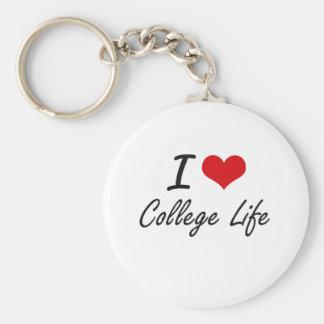 Amo diseño artístico de la vida de la universidad llavero redondo tipo pin