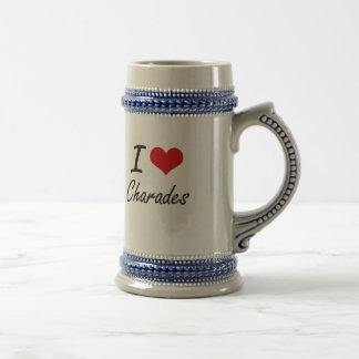 Amo diseño artístico de las charadas jarra de cerveza