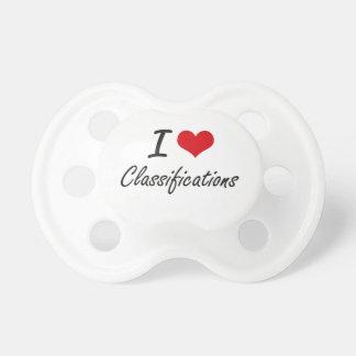 Amo diseño artístico de las clasificaciones chupete