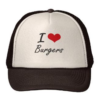 Amo diseño artístico de las hamburguesas gorra