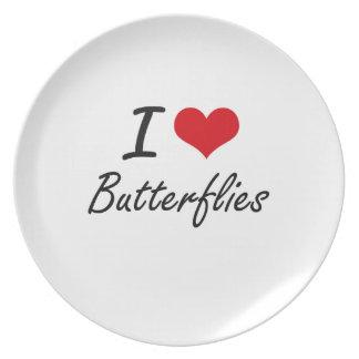 Amo diseño artístico de las mariposas platos para fiestas