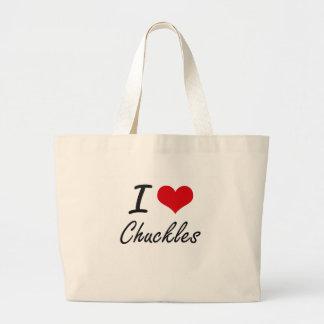 Amo diseño artístico de las risas bolsa tela grande