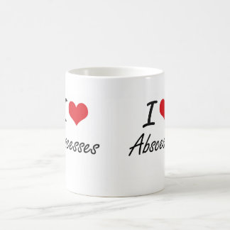 Amo diseño artístico de los abscesos taza básica blanca
