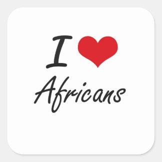 Amo diseño artístico de los africanos pegatina cuadrada