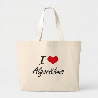 Amo diseño artístico de los algoritmos bolsa tela grande