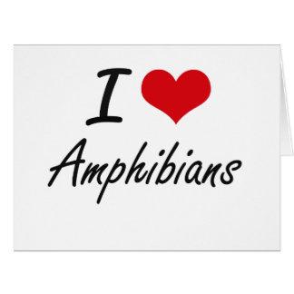 Amo diseño artístico de los anfibios tarjeta de felicitación grande