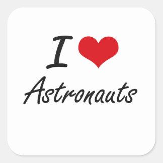 Amo diseño artístico de los astronautas pegatina cuadrada