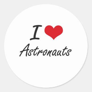 Amo diseño artístico de los astronautas pegatina redonda