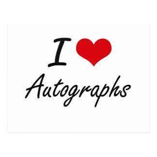 Amo diseño artístico de los autógrafos tarjetas postales