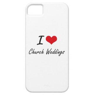 Amo diseño artístico de los bodas de la iglesia funda para iPhone 5 barely there