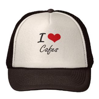 Amo diseño artístico de los cafés gorras de camionero