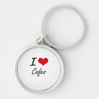 Amo diseño artístico de los cafés llavero redondo plateado