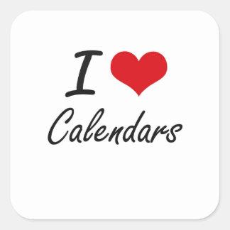 Amo diseño artístico de los calendarios pegatina cuadrada