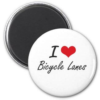 Amo diseño artístico de los carriles de bicicleta imán redondo 5 cm