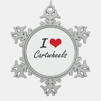 Amo diseño artístico de los Cartwheels Adorno De Peltre En Forma De Copo De Nieve