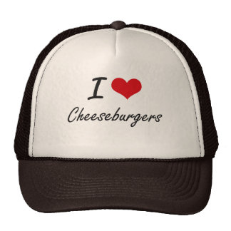 Amo diseño artístico de los cheeseburgers gorra