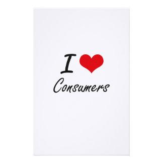 Amo diseño artístico de los consumidores papelería