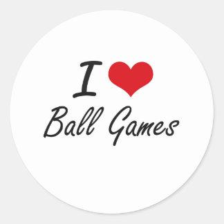 Amo diseño artístico de los juegos de pelota pegatina redonda