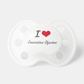 Amo diseño artístico de los objetores concienzudos chupetes