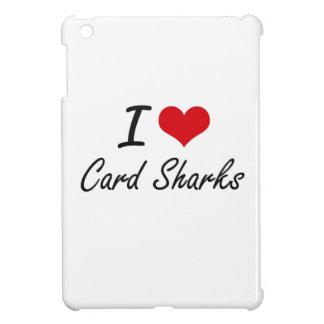 Amo diseño artístico de los tiburones de tarjeta
