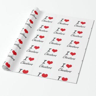 Amo diseño artístico de los tramposos papel de regalo