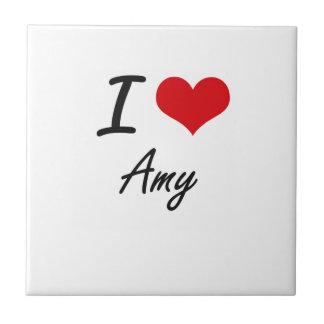 Amo diseño artístico del Amy Azulejo Cuadrado Pequeño