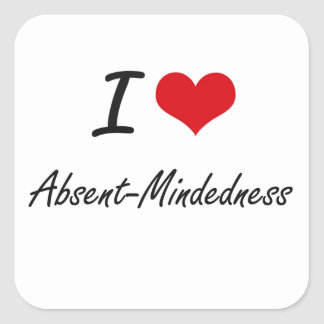 Amo diseño artístico del Ausente-Mindedness Pegatina Cuadrada