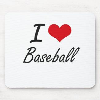 Amo diseño artístico del béisbol tapetes de ratón