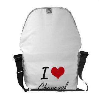 Amo diseño artístico del carbón de leña bolsas de mensajería