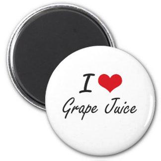 Amo diseño artístico del jugo de uva imán redondo 5 cm
