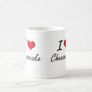 Amo diseño artístico del pastel de queso taza