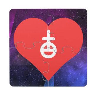 Amo diseño astrológico de los símbolos posavasos de puzzle