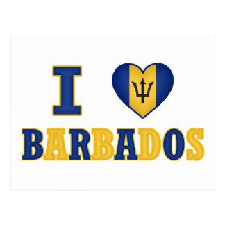 Amo diseño de la bandera del corazón de Barbados Tarjetas Postales