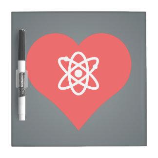 Amo diseño de la bomba atómica tablero blanco