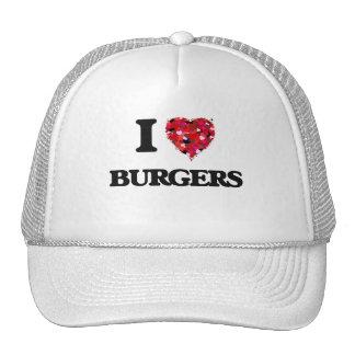 Amo diseño de la comida de las hamburguesas gorras