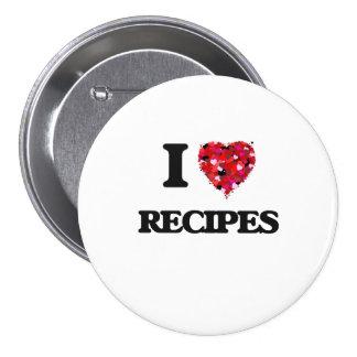 Amo diseño de la comida de las recetas pin redondo 7 cm
