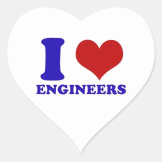 Amo diseño de los ingenieros calcomanías corazones personalizadas