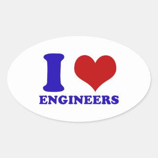 Amo diseño de los ingenieros calcomanías ovales personalizadas