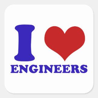 Amo diseño de los ingenieros calcomanía cuadradas personalizada
