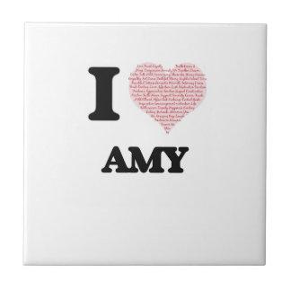 Amo diseño del Amy (corazón hecho de palabras) Azulejo Cuadrado Pequeño