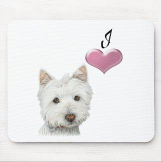 Amo diseño del arte del perro de Westie Tapete De Raton
