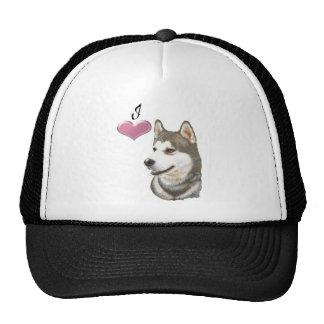 Amo diseño del arte del perro del husky siberiano gorras