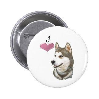 Amo diseño del arte del perro del husky siberiano pin redondo de 2 pulgadas