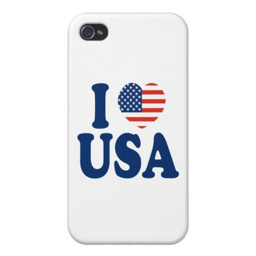Amo diseño del corazón de los E.E.U.U. iPhone 4/4S Fundas