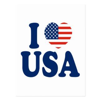 Amo diseño del corazón de los E.E.U.U. Postales