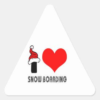 Amo diseño del embarque de la nieve calcomanía de triangulo personalizadas
