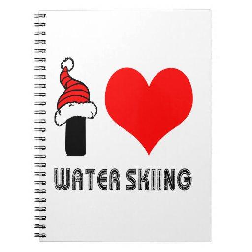 Amo diseño del esquí acuático libros de apuntes con espiral