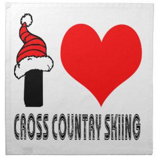 Amo diseño del esquí del campo a través servilletas