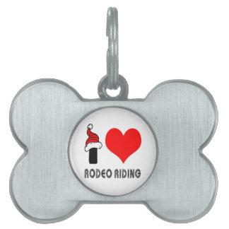Amo diseño del montar a caballo del rodeo placa mascota