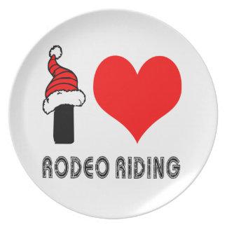 Amo diseño del montar a caballo del rodeo plato de comida